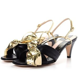 SALE 🌟 GUCCI Mid-Heel Sandals with Gold Bow NIB